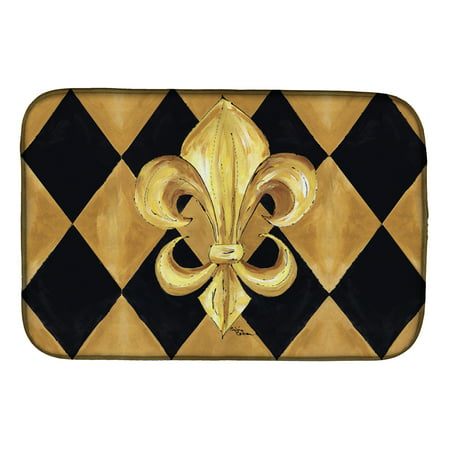 Black Fleur De Lis - Black and Gold Fleur de lis New Orleans Dish Drying Mat