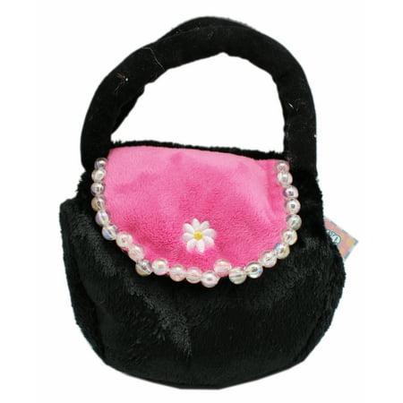 Black Colored Faux Fur Plush purse - By Ganz