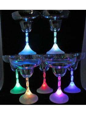4 Light up LED Flashing Margarita Glasses Plastic Bar-ware Each Glass 8 oz