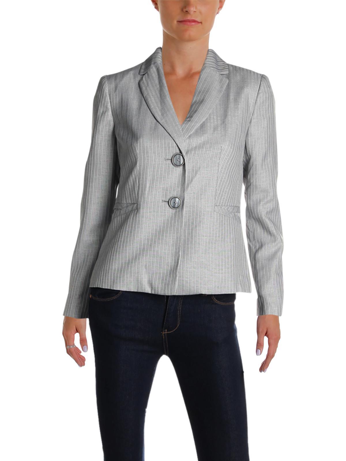 Le Suit Womens Petites Striped Office Two-Button Blazer