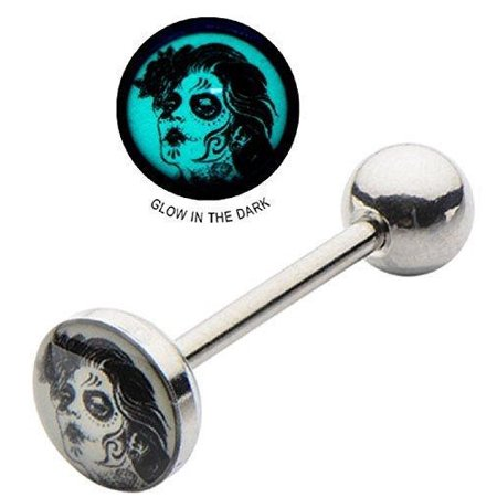 316l Tongue Barbell - Tongue Ring 316L Surgical Steel Barbell 14g 5/8 8mm Glow In Dark Dead Maiden