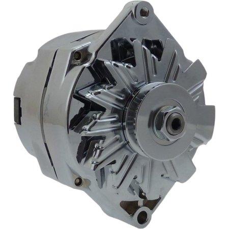 110A CHROME STREET ROD GM HIGH OUTPUT ALTERNATOR 1 WIRE NEW 7127NSE-100A-C Gm High Output Alternator
