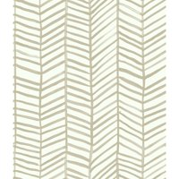 RoomMates Cat Coquillette Beige Herringbone Peel and Stick Wallpaper