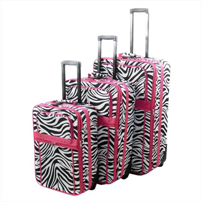 All-Seasons 818903-163-ARCHIVE Vacation Expandable Upright Luggage Set, Pink Zebra Stripe - 3 Piece
