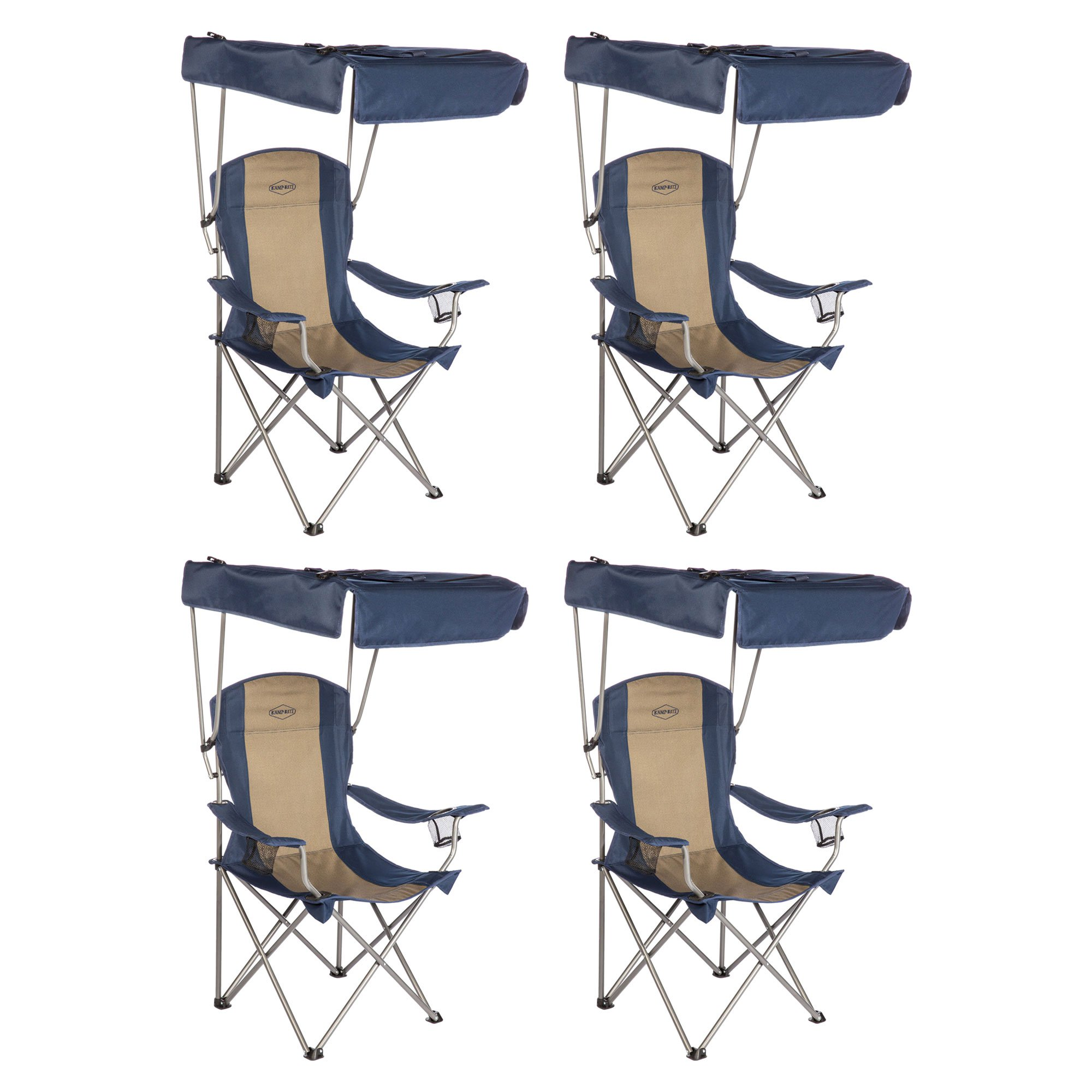 Kamp-Rite Outdoor Tailgating Camping Shade Canopy Folding Lawn Chair (4 Pack)