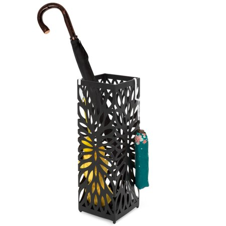 Best Choice Products Modern Square Metal Entryway Umbrella Storage Stand with 2 Hooks, Drain Tray, Floor Protection,