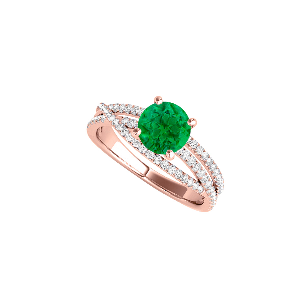 Emerald CZ Criss Cross Design Ring in 14K Rose Gold - image 2 of 2