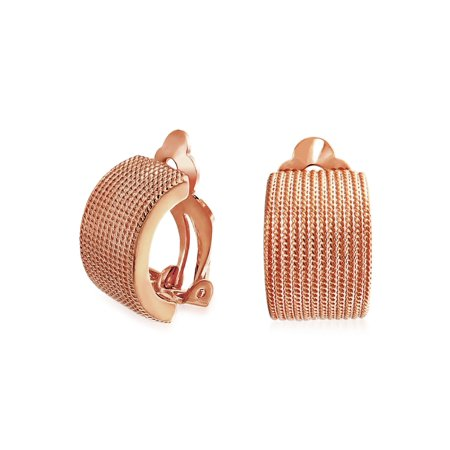 Twisted Cable Rope Wide Half Hoop Clip On Earrings For Women Non Pierced Ears Rose Silver Plated (Half Hoop Clip)