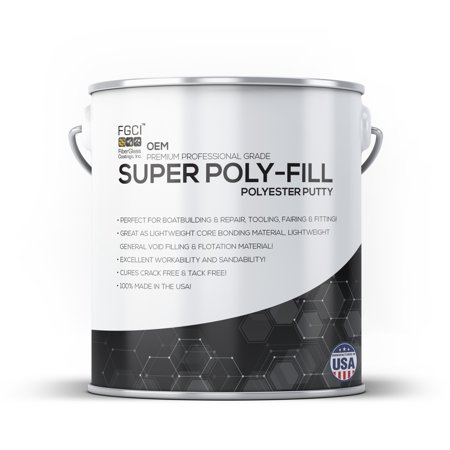 OEM SUPER POLYESTER PUTTY FILLER QUART, DIY GELCOAT REPAIR FIXER & RESTORATION, HOW TO REPAIR FIBERGLASS ON A BOAT (GELCOAT CRACK CHIP SCRAPE REPAIR