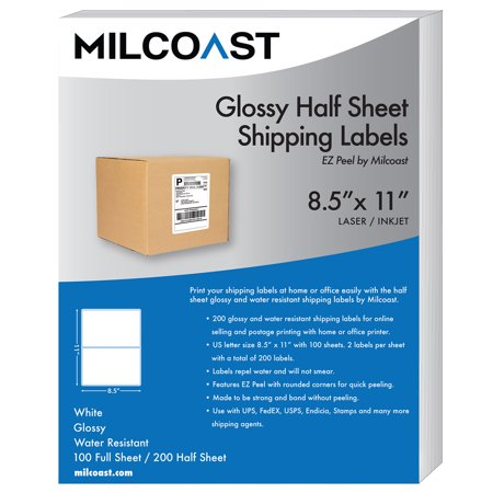 Milcoast glossy half sheet shipping labels ez peel for Half page shipping labels