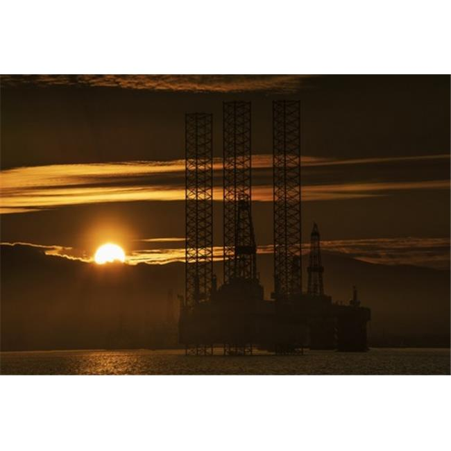 Posterazzi DPI12300988 Oil Drilling Rigs Out in The Ocean with A View of The Coastline & Golden Sunset - Cromarty Invergordon Scotland 19 x 12 Poster Print by John Short, 19 x 12 - image 1 of 1