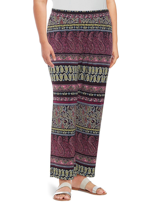 Plus Paisley-Print Pants