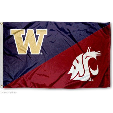 Ncaa Door Flag - NCAA Washington State vs. UW House Divided 3x5 Flag