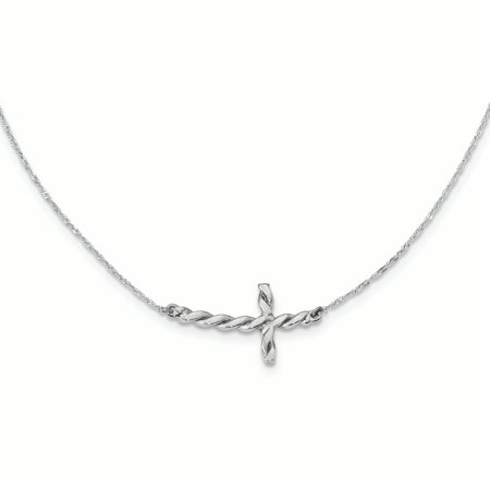 14K White Gold 0.7 MM Polished Twisted Sideways Cross Necklace, 17