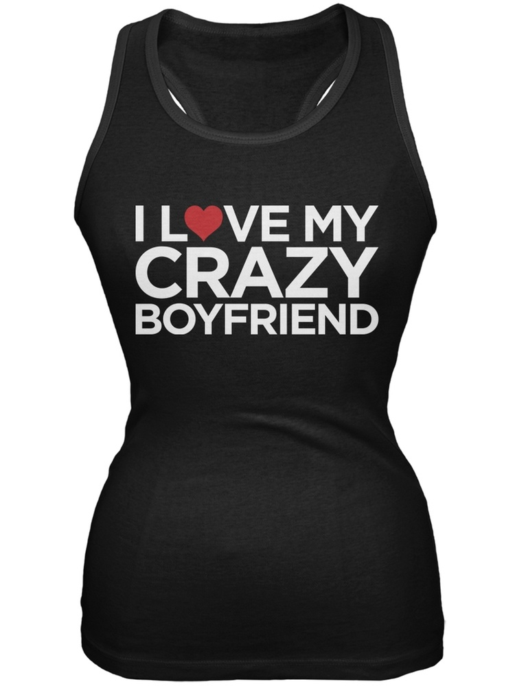 I Love My Crazy Boyfriend Black Juniors Soft Tank Top