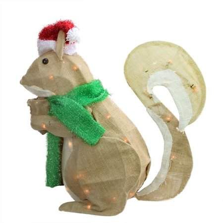 28 pre lit burlap squirrel with santa hat christmas outdoor decoration - Christmas Elephant Outdoor Decoration