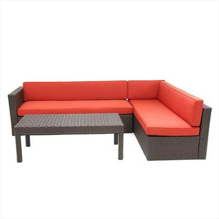 Jeco W31-FS018 3 Piece Wicker Conversation Sectional Set - Red Orange Cushions