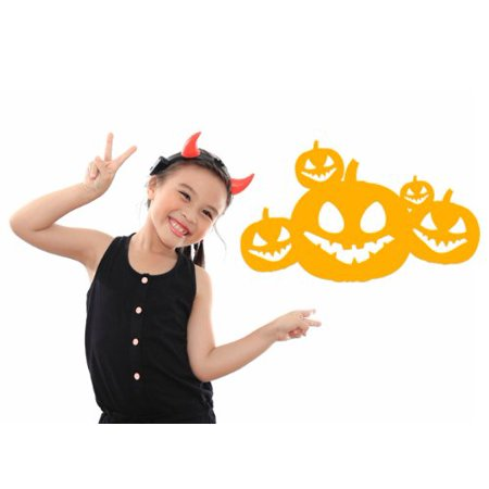 Halloween Jack O' Lanterns Wall Decal - Wall Sticker, Vinyl Wall Art, Home Decor, Wall Mural - W5028 - White, 16in x 10in (Gold Suit Halloween)