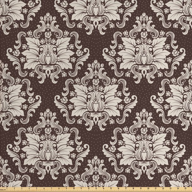 Damask Fabric By The Yard Victorian Floral Pattern With Blooming Foliage Leaves On Dark Toned Backdrop Decorative Fabric For Upholstery And Home Accents By Ambesonne Walmart Com Walmart Com