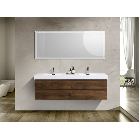 Fortune Series 72 Inch Wall Mounted Double Sink Bathroom