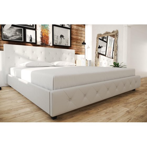 DHP Dakota Upholstered Faux Leather Platform Bed with Wooden Slat ...