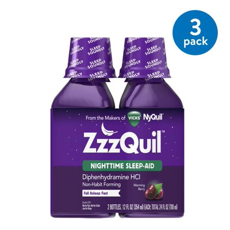 (3 Pack) ZzzQuil Nighttime Sleep Aid Liquid by Vicks, Warming Berry Flavor, 12 Fl Oz, 2 (Flavor Aid)