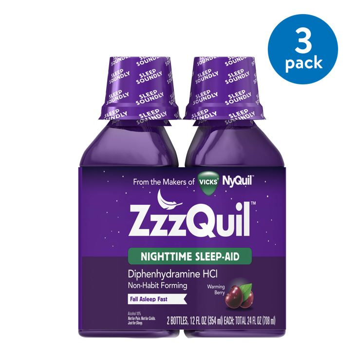 ZzzQuil Nighttime Sleep Aid Liquid by Vicks, Warming Berry Flavor, 12 Fl Oz, 2 ct