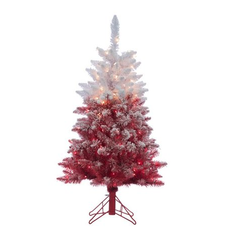 The Holiday Aisle Flocked Red Artificial Christmas Tree Clear White Lights  with Stand - The Holiday Aisle Flocked Red Artificial Christmas Tree Clear White