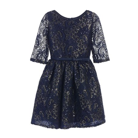 Sweet Kids Girls Navy Sequin Lace Gold Leaf Print Occasion Dress 7-16 Childrens Occasion Dresses