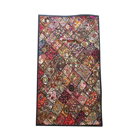 Mogul Indian Kutch Tapestry Patchwork Mirror Hand Embroidered Banjara Table Throw Wall Hanging