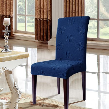 blue dining room chair covers | Flower Jacquard Stretch Dining Room Chair Covers (4Pcs ...