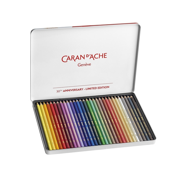 Caran D'Ache Supracolor Limited Edition 30th Anniversary Watercolor Pencil Metal Box Set of 30 Assorted Colors Imported From Switzerland Soft Water-Soluble Lead