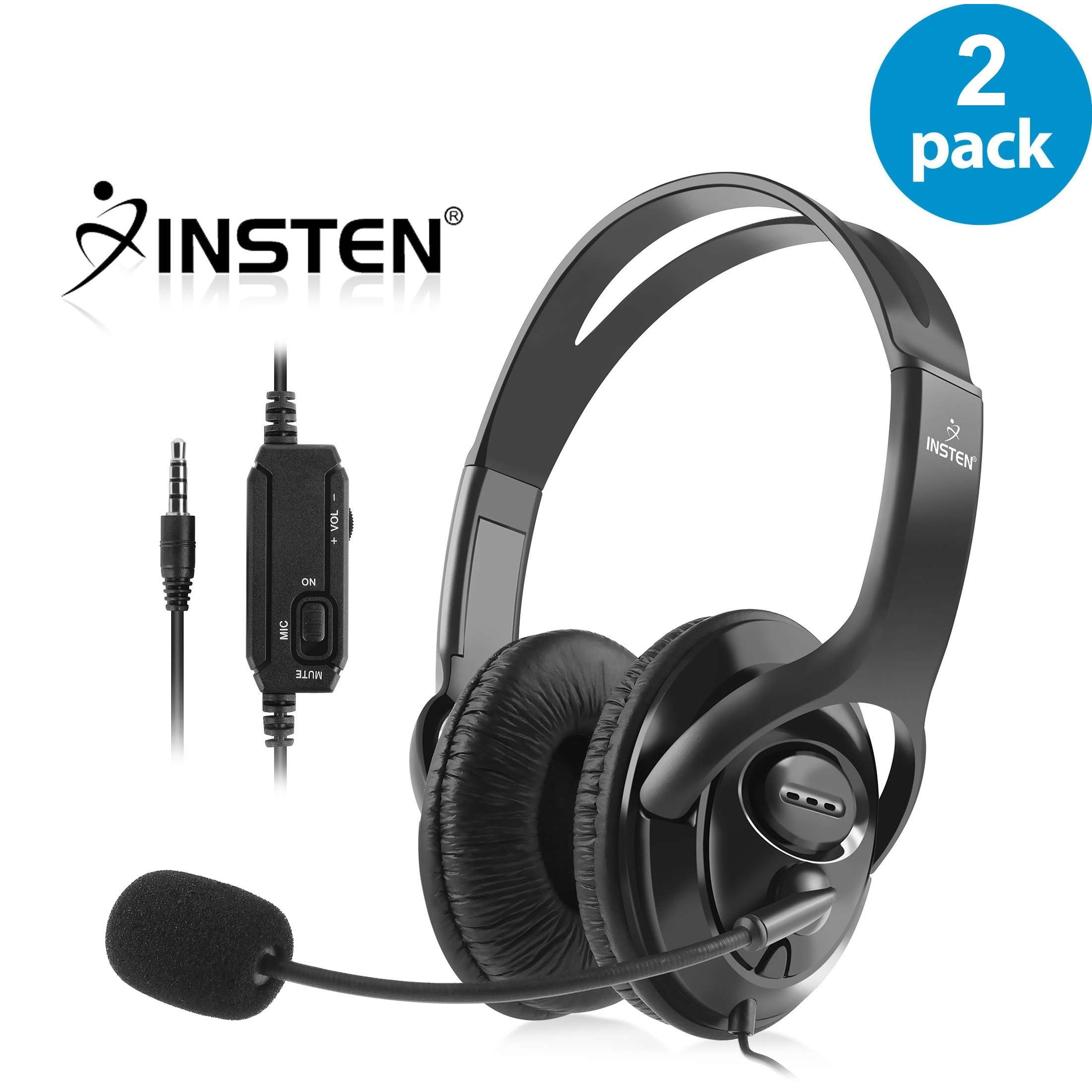 Insten 2x Wired Gaming Headset Headphone with Mic Microphone for Sony PS4 PlayStation 4 (2-Pack Bundle)