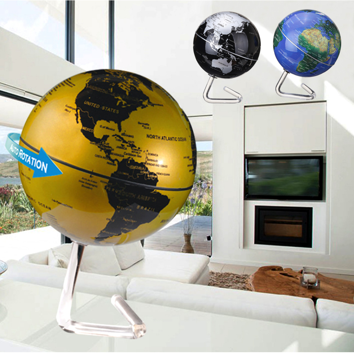 4'' 360° Dia Automatic Rotating Globe Battery Powered World Map Desktop Political Globe With Stand Education Tool Home Room Office Decor Kid Christmas Birthday Gift