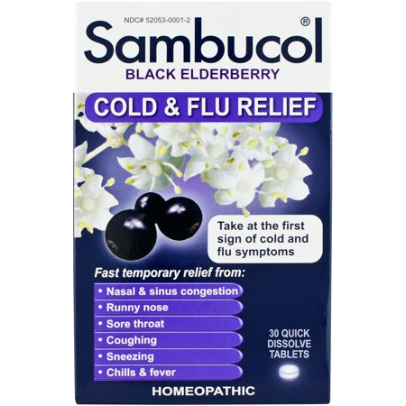 Sambucol Black Elderberry Cold & Flu Relief Quick Dissolve Tablets, 30 (Best Homeopathic Medicine For Anemia)