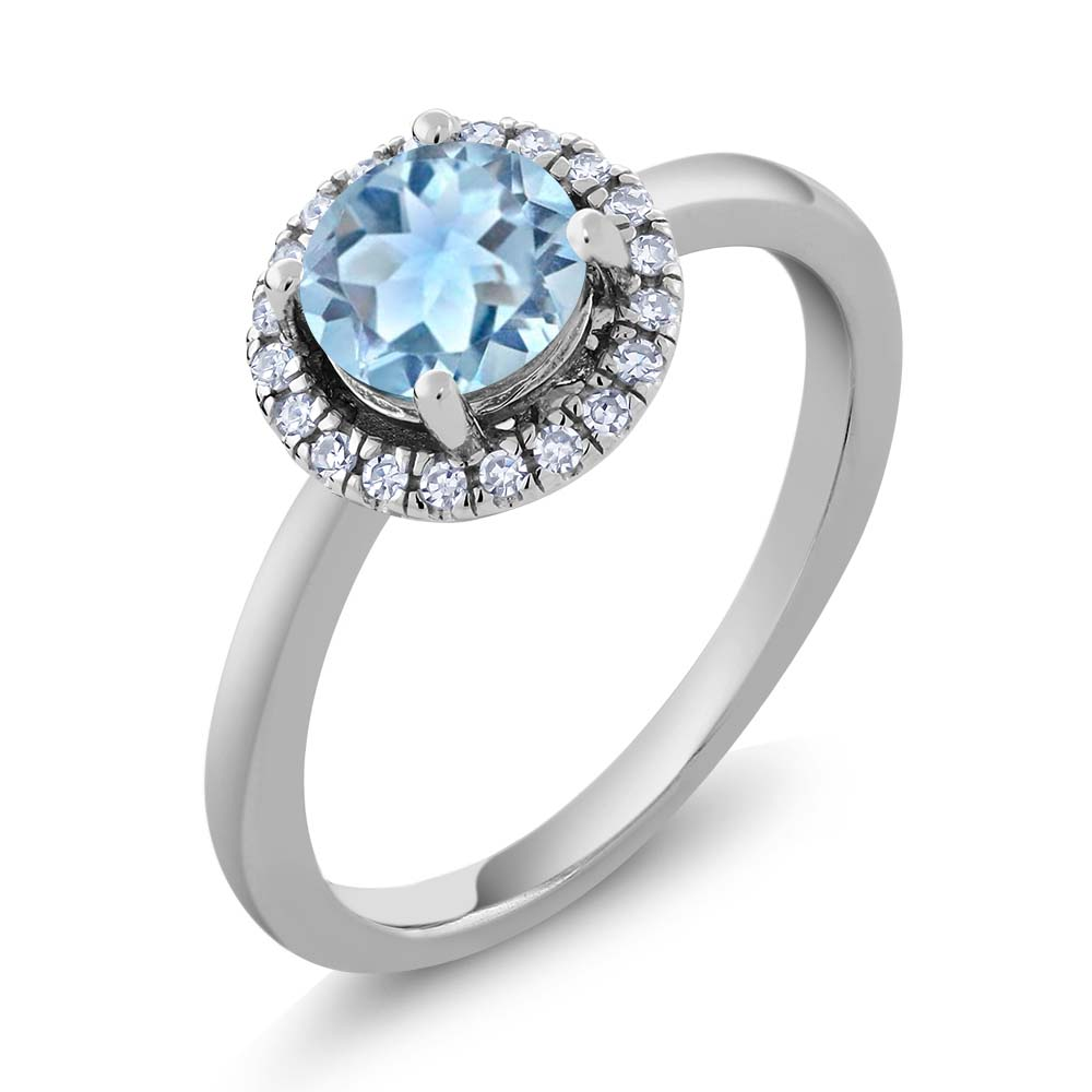 0.85 Ct Round Sky Blue Aquamarine H/I Diamond 14K White Gold Ring