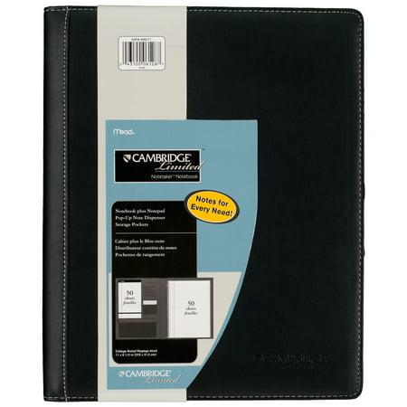 Cambridge Notetaker Refillable Notebook, Black, 8 1/2u0022 x 11u0022 (06126)
