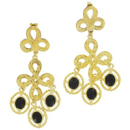 Gold Tone Chandelier Dangle Big Pierced Earrings 2 1/2