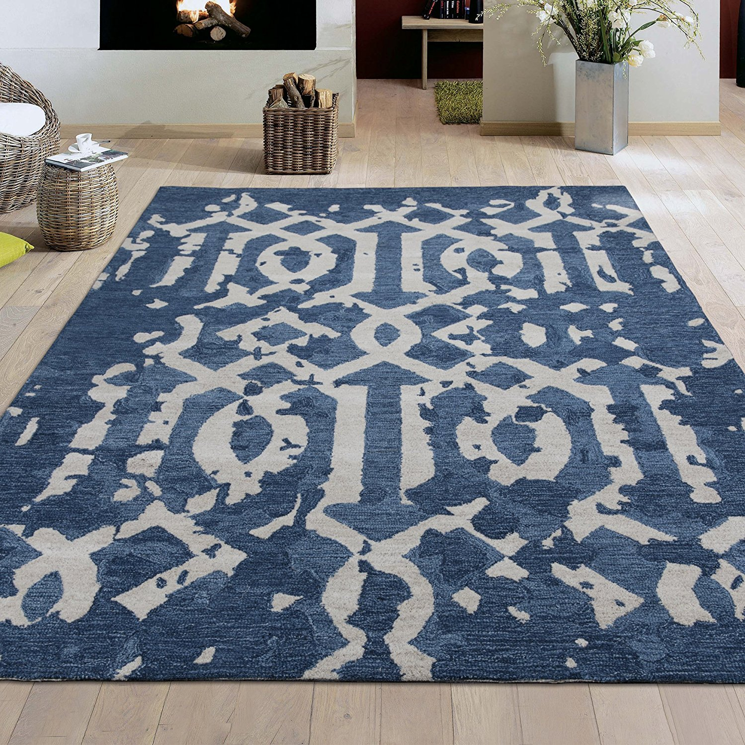 Ottomanson Hand-Tufted Hampton Collection Natural Wool Distressed Moroccan Trellis Rug, Navy, 5' X 7'