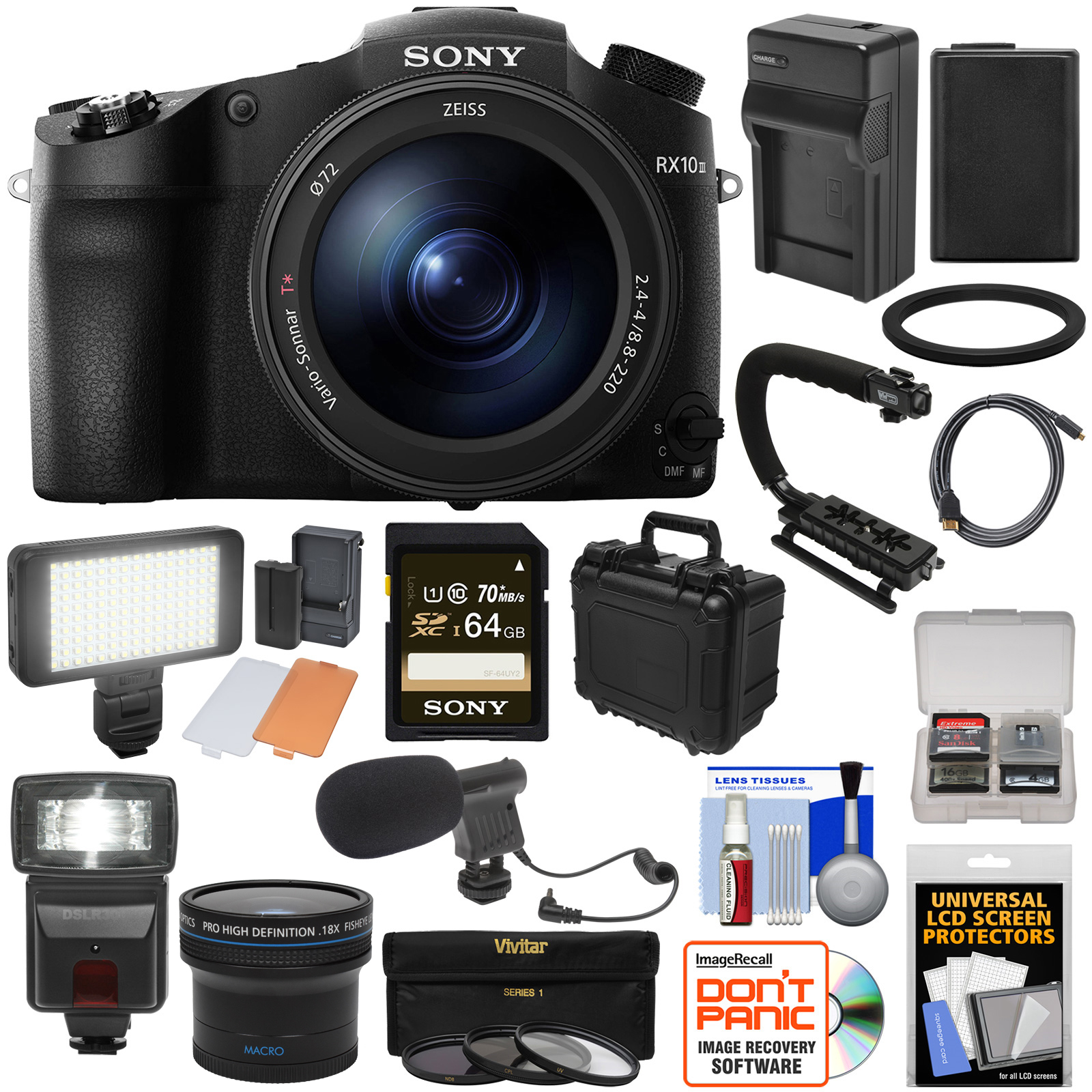 Sony Cyber-Shot DSC-RX10 III 4K Wi-Fi Digital Camera + 64GB Card + Battery & Charger + Hard Case + Stabilizer + Flash + LED Light + Microphone + Fisheye Lens Kit