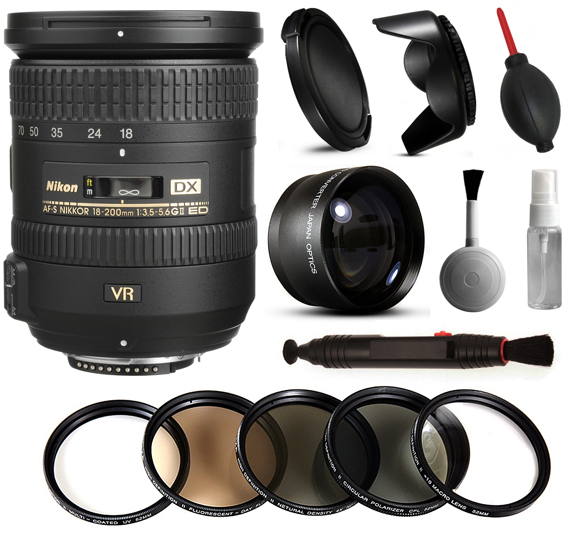 Nikon 18-200mm VR II Lens 2192 + Beginner Accessories Bundle includes 5 Piece Filter Set + 2.2x Adapter for Nikon DF D7200 D7100 D7000 D5500 D5300 D5200 D5100 D5000 D3300 D3200 D3100 D3000 D300S D90