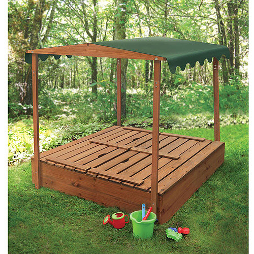 Badger Basket Covered Convertible Cedar Sandbox with Canopy and 2 Bench Seats Image 2 of 5 & Badger Basket Covered Convertible Cedar Sandbox with Canopy and 2 ...