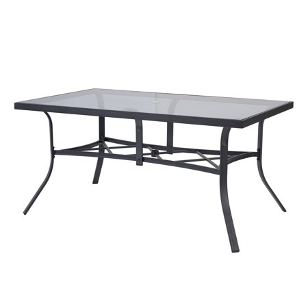 Mainstays Dundee Ridge Rectangular Glass Patio Dining Table