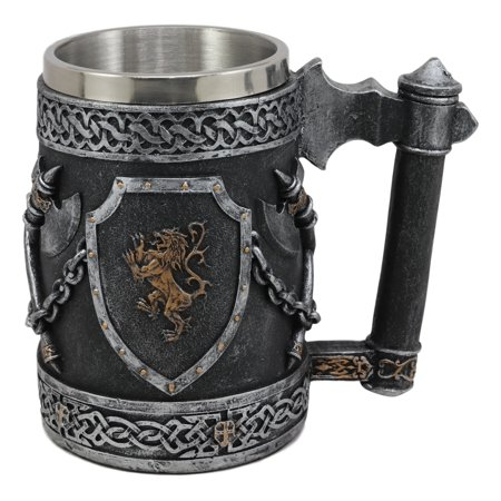 Ebros Large Medieval Coat Of Arms English Lion Heraldry Shields And Crossed Axes Tankard Mug 16oz Kingdom Of England Lion Heart Crest Beer Stein Tankard Coffee Cup Renaissance Art Decor Home Kitchen (Lion And Shield)