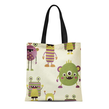 ASHLEIGH Canvas Tote Bag Green Kids Cute Little Monsters Party Baby Girls Boys Reusable Handbag Shoulder Grocery Shopping Bags (Monster Handbag)