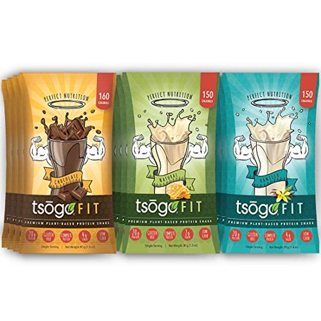 Sox Fiber - Tsogo Fit Variety 12 Pack, Chocolate, Vanilla & Natural Flavors, Soy Free, Gluten Free & Dairy Free, High Fiber & Protein, Low Calories & Carbs, Meal Replacement Shake (1 Box-12 Single Servings)