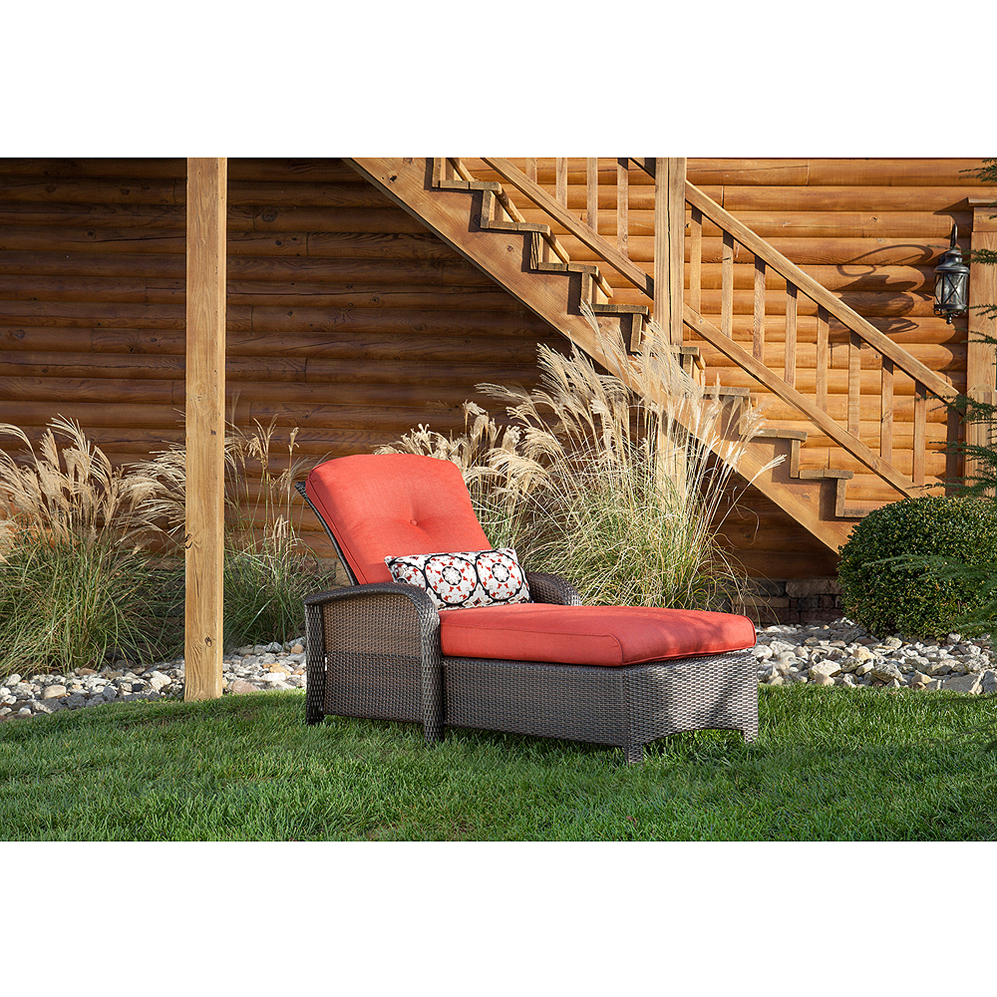 Hanover Strathmere Outdoor Luxury Chaise Lounge, Crimson Red by Hanover Outdoor Furniture