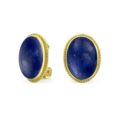 - Gold Plated 925 Sterling Gemstone Oval Bezel Set Silver Rope Alloy Clip On Earrings