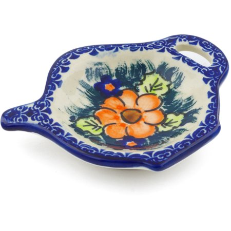 Polish Pottery 4¼-inch Tea Bag or Lemon Plate (Butterfly Splendor Theme) Signature UNIKAT Hand Painted in Poland + Certificate of Authenticity