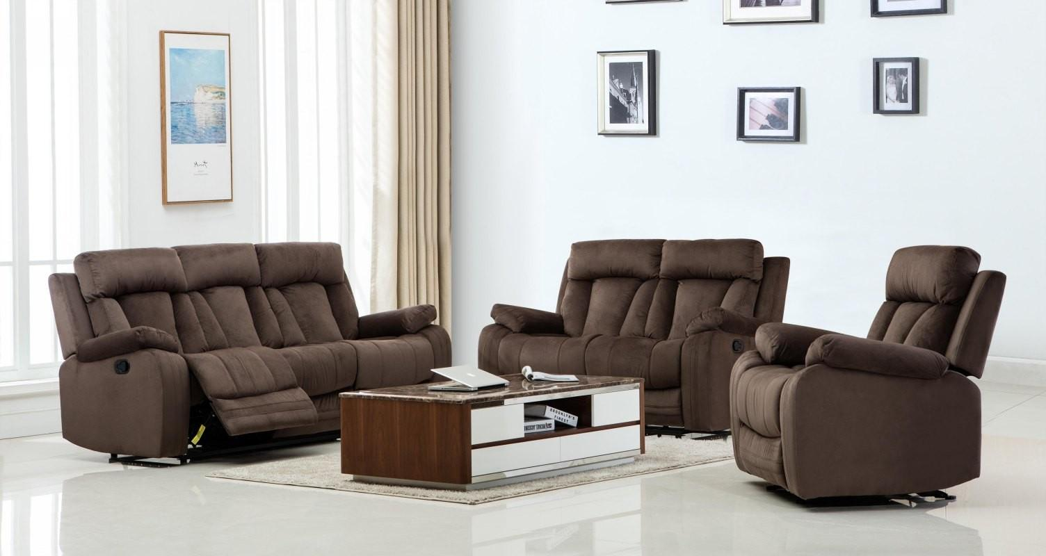 global furniture 9760 contemporary brown microfiber recliner sofa rh walmart com